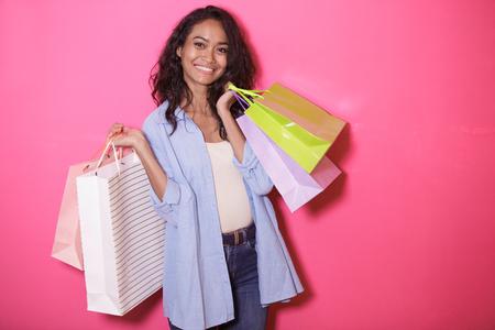 happiness of asian woman bringing shopping bag