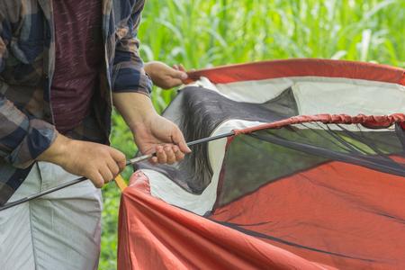 man set up the tent