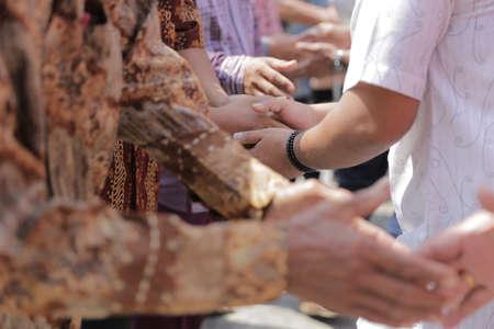 shake hand in muslim celebration Stock Photo