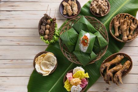 top view of nasi angkringan or nasi kucing. indonesian traditional food Stockfoto