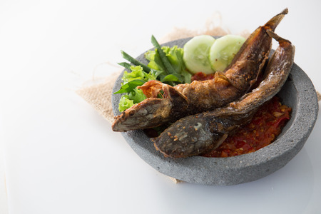 traditional indonesian culinary food. sambal and penyetan pecel lele. catfish with hot chili sauce