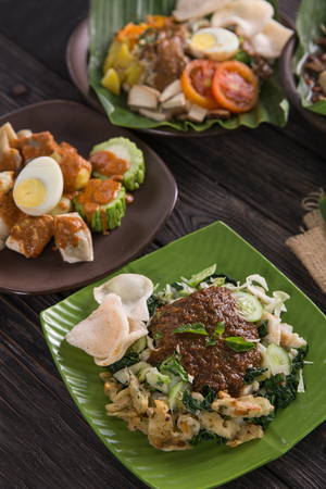traditional indonesian culinary food. lotek vegetable with peanut sauce Stock Photo - 104696140