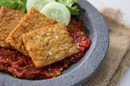 traditional indonesian culinary food. sambal and penyetan tempe
