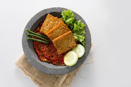 traditional indonesian culinary food. sambal and penyetan