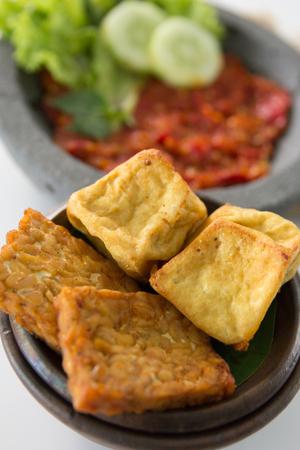 traditional indonesian culinary food. sambal and penyetan tempe tahu Stock Photo