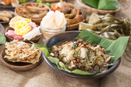 traditional indonesian culinary food. kupat tahu served on table