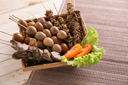 sate usus, hati, rempela telur indonesian traditional cuisine