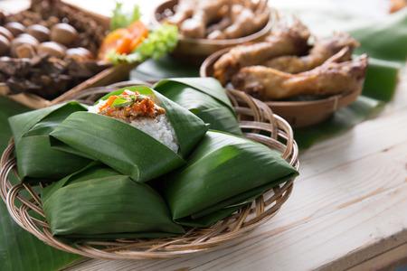 nasi angkringan or nasi kucing. indonesian traditional food from central java