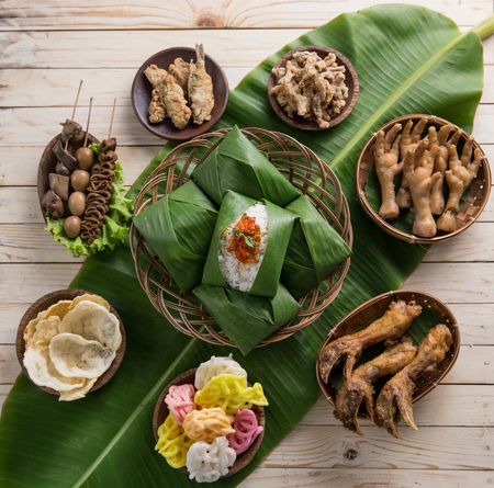 top view of nasi angkringan or nasi kucing. indonesian traditional food Stock Photo