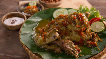 delicious balinese traditional food ayam betutu. 스톡 콘텐츠