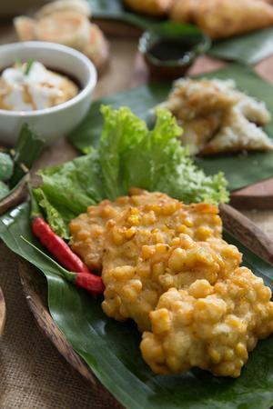 indonesian traditional bergedel or bakwan jagung