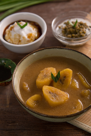 kolak pisang bubur sumsum dan kacang hijau Stock Photo