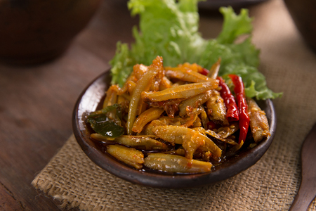 sambal teri. javanese traditional food spicy anchovy
