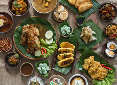 portrait of indonesian traditional food. various delicious culinary