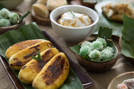 various of indonesian delicacy. klepon, lupis and other traditional food