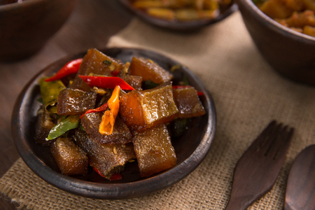 oseng kikil. javanese traditional culinary. beef skin or tendon Stock Photo