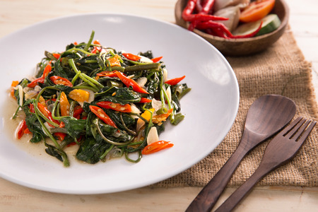 Stir fried water spinach or cah kangkung Stock Photo - 105479129
