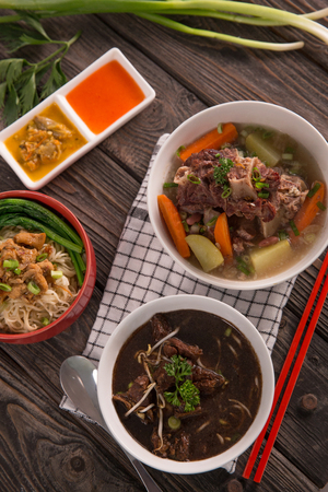 Rawon, sop buntut and mie ayam Stock Photo