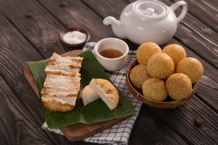 onde-onde and gandos. indonesian traditional food Stock Photo