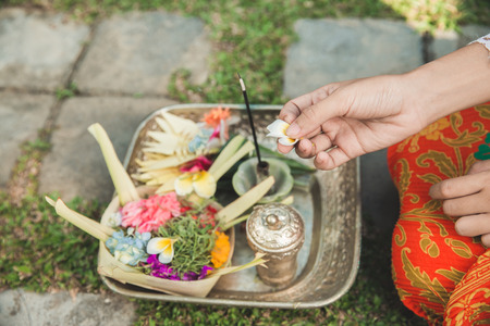 daily offerings canang sari made by Balinese Hindus to thank the
