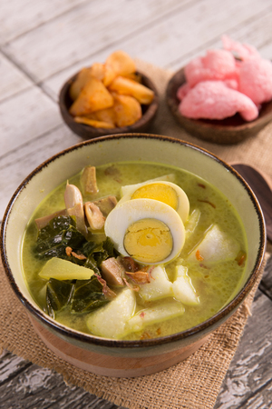 lontong sayur. rice cake with soup Stock Photo - 105659137