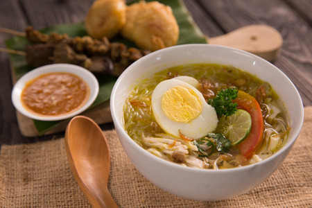 soto ayam. shreedded chicken soup