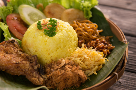 nasi kuning. indonesian yellow rice