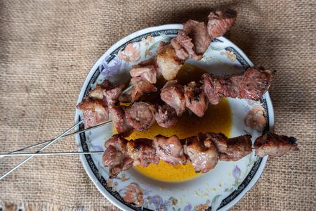 sate klathak goat or mutton satay dish