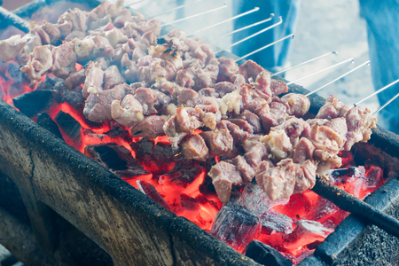 sate klatak goat or mutton satay dish 版權商用圖片