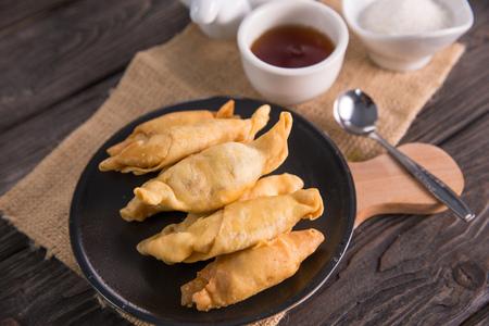pisang molen. fried banana wrap indonesian traditional food