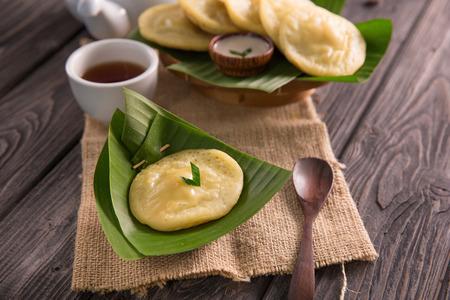 serabi. indonesian pancake made of rice flour coconut milk served with sugar syrup Reklamní fotografie