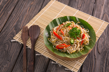 oseng tauge. stir fry bean sprouts delicious traditional vegetable food Stock Photo - 105707416