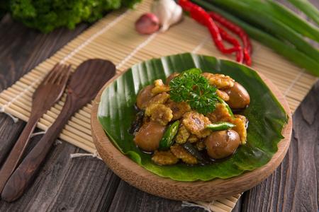 oseng telur puyuh. indonesian food bird egg stir fry