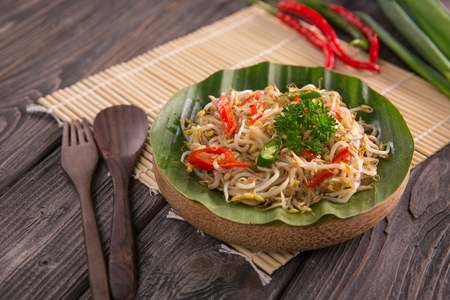 oseng tauge. stir fry bean sprouts delicious traditional vegetable food