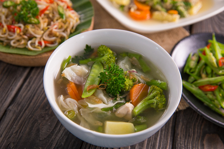 sayur sop or vegetable with chicken soup indonesian culinary Stock Photo - 105707429