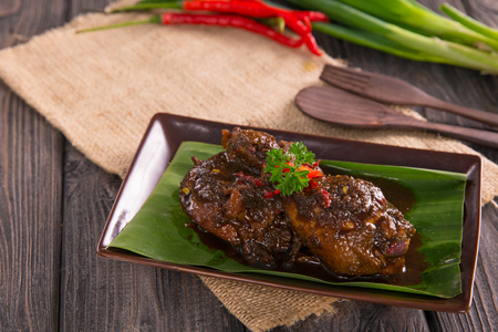 chicken with soysauce and chilli Stock Photo