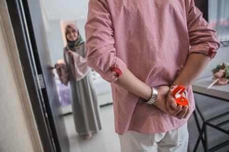 pareja mujer musulmana propuesta Foto de archivo