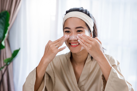 Woman facial with foam