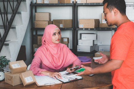 woman working in package delivery accepted many complaint