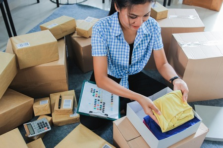 woman packed some stuff to be shipped