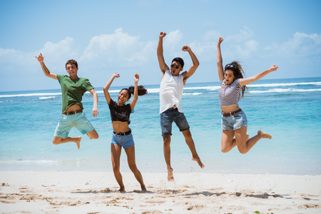 jump to the air together pose