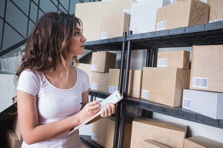 woman with lot of package working by her self
