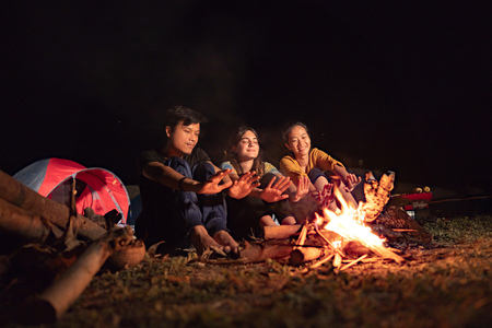 A group of friends having fun camping 写真素材
