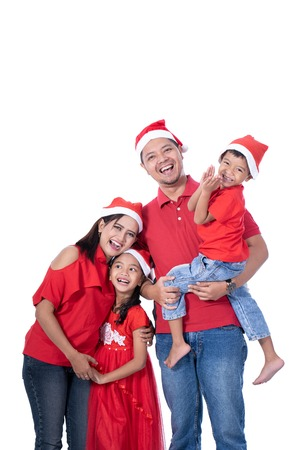 family and kids portrait. christmas theme Stock Photo