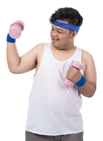 portrait of fat young man with dumbbells from view side