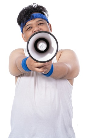 portrait of sporty young man with megaphone Stok Fotoğraf