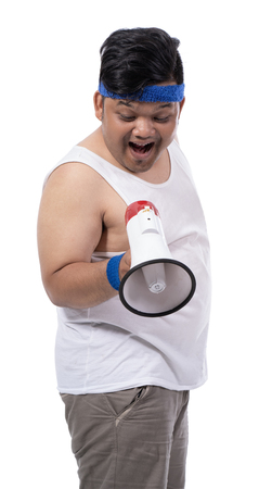 portrait of fat young man open his mouth looking down with megaphone