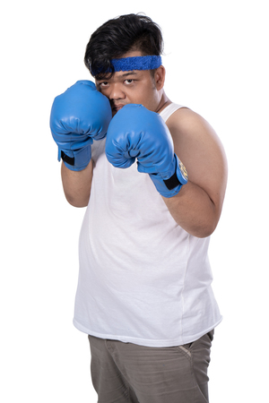 portrait young man with boxing gloves defend from enemy