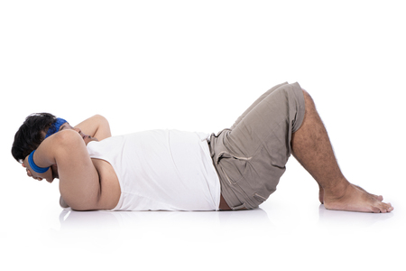Young obese men have difficulty doing sit up