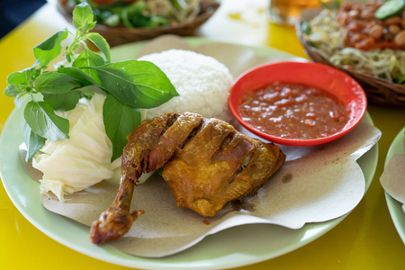 pecel ayam made, indonesian fried chicken lalapan penyet